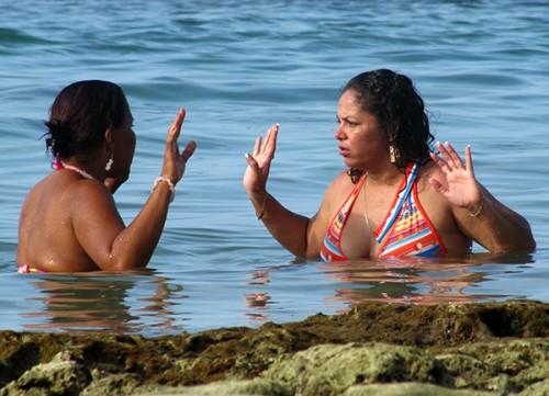 Locals arguing - Puerto Viejo, Costa Rica
