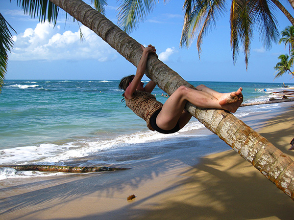 Climbing a Palm Tree - Punta Uva, Costa Rica