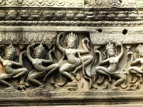 Apsara dancers carving - Preah Khan, Cambodia