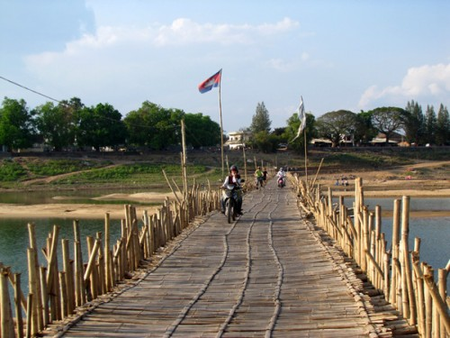 Bamboo bridge - Mekong River, Kampong Cham, Cambodia