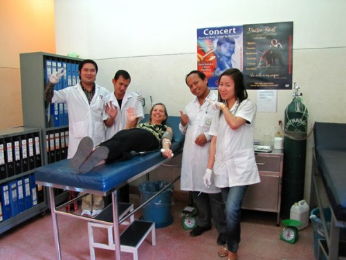 Donating blood in Siem Reap, Cambodia