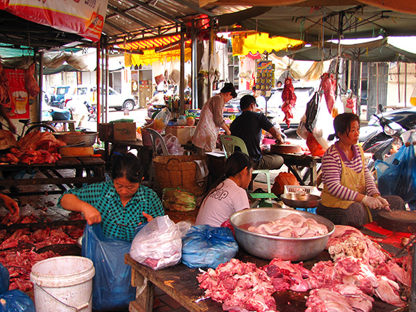 Meat stall in the market - Phnom Penh, Cambodia