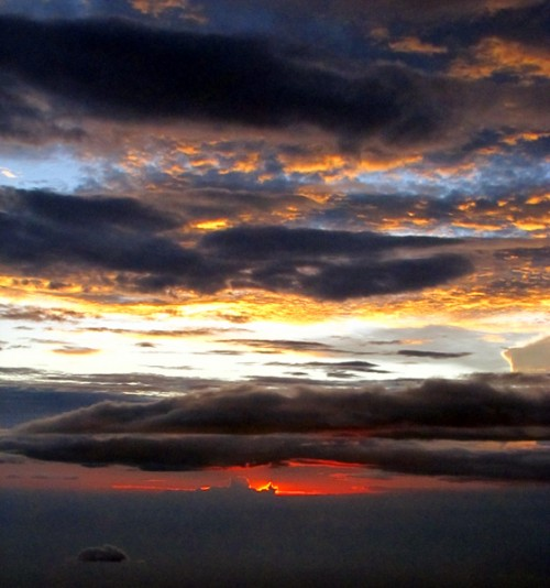 Sunset from an airplane over Malaysia