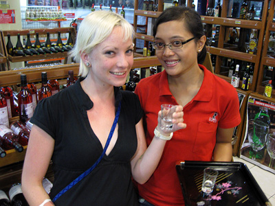 Vodka sample in the grocery store - Sanur, Indonesia